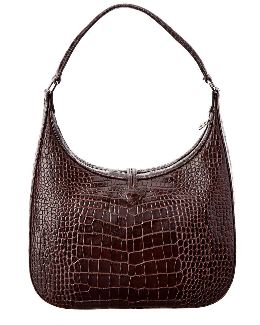 Longchamp Roseau Croco Embossed Leather Hobo in Brown - Lyst c19ef31de451f