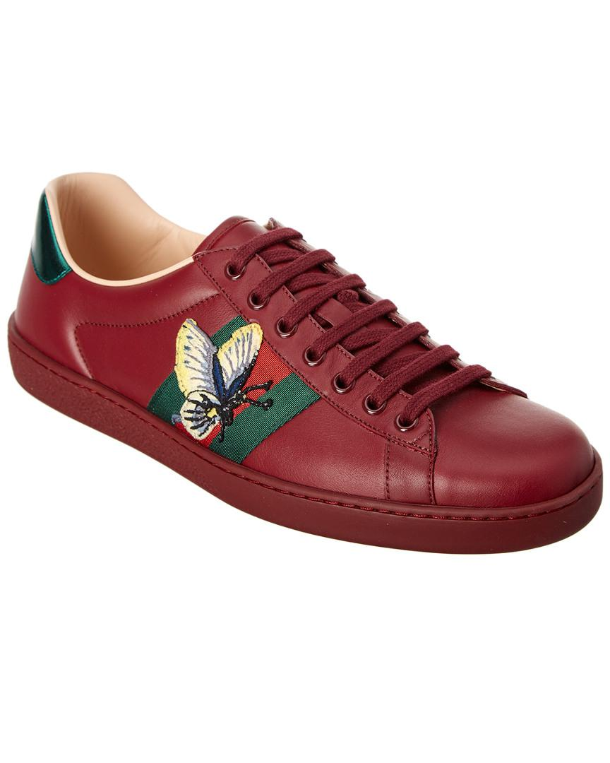 4ef6f14347f Lyst - Gucci Ace Butterfly Embroidered Leather Sneaker in Red for Men