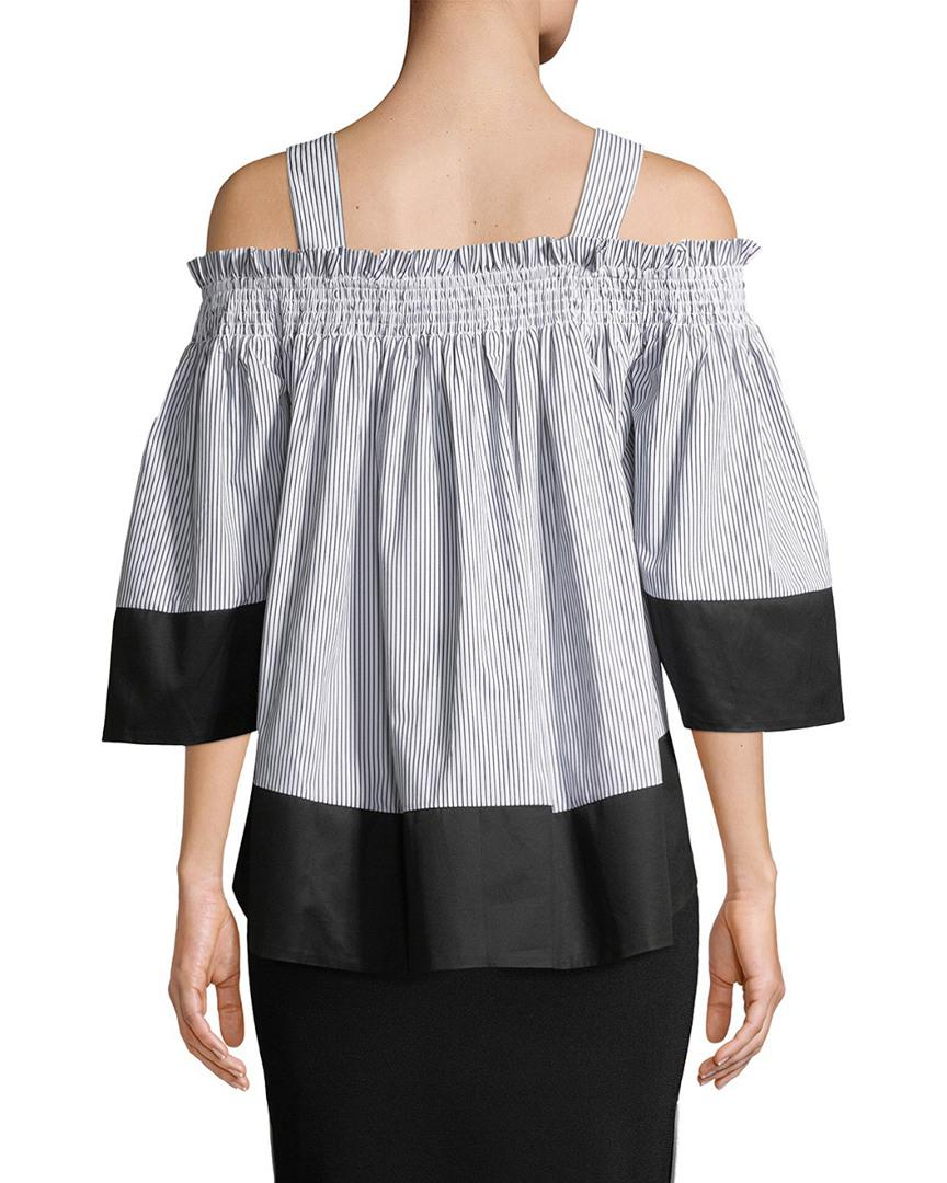 a210f8f9885b1 Lyst - Kendall + Kylie Kendall + Kylie Smocked Cold-shoulder Top in Gray -  Save 3.8461538461538396%