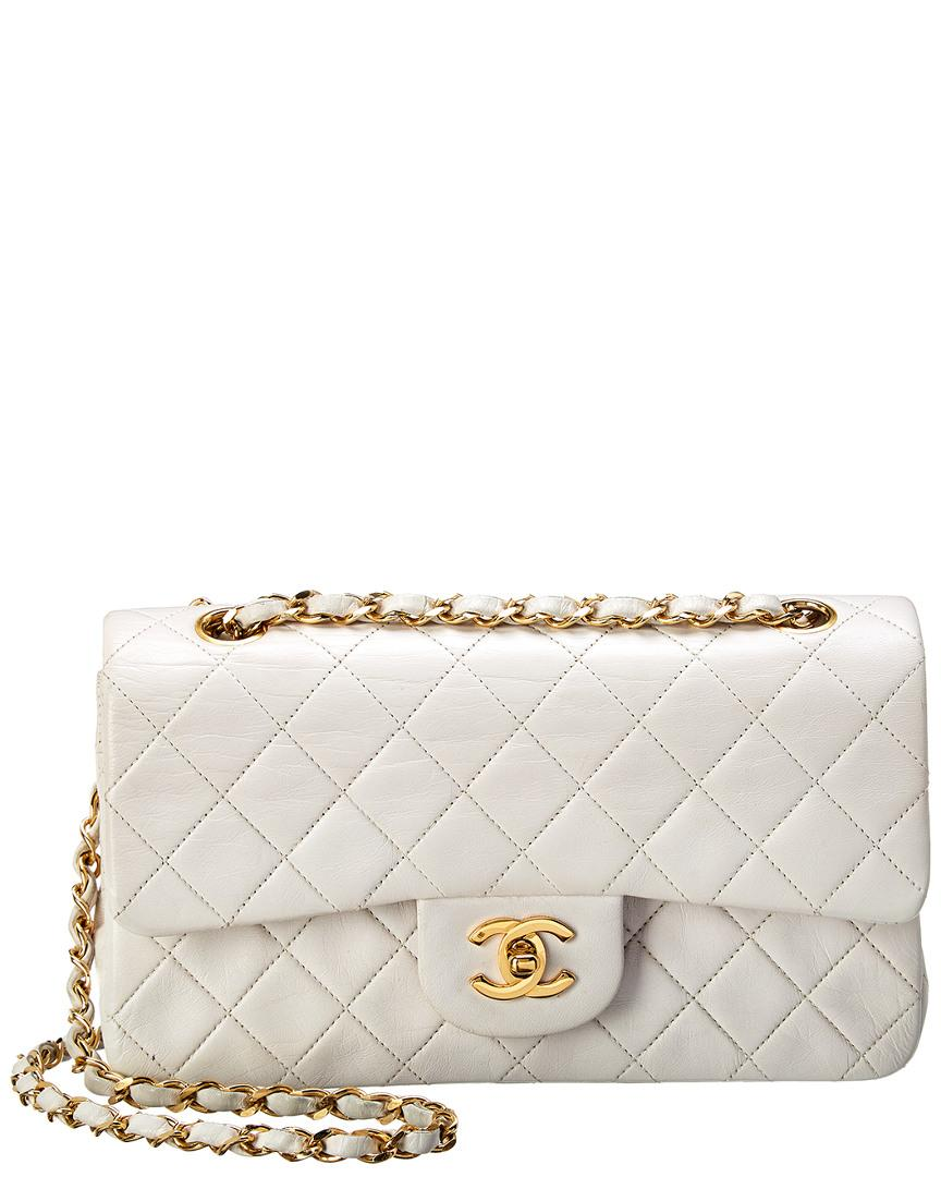 1eee6ee1e31e Chanel. Women's White Quilted Lambskin Leather Medium Double Flap Bag