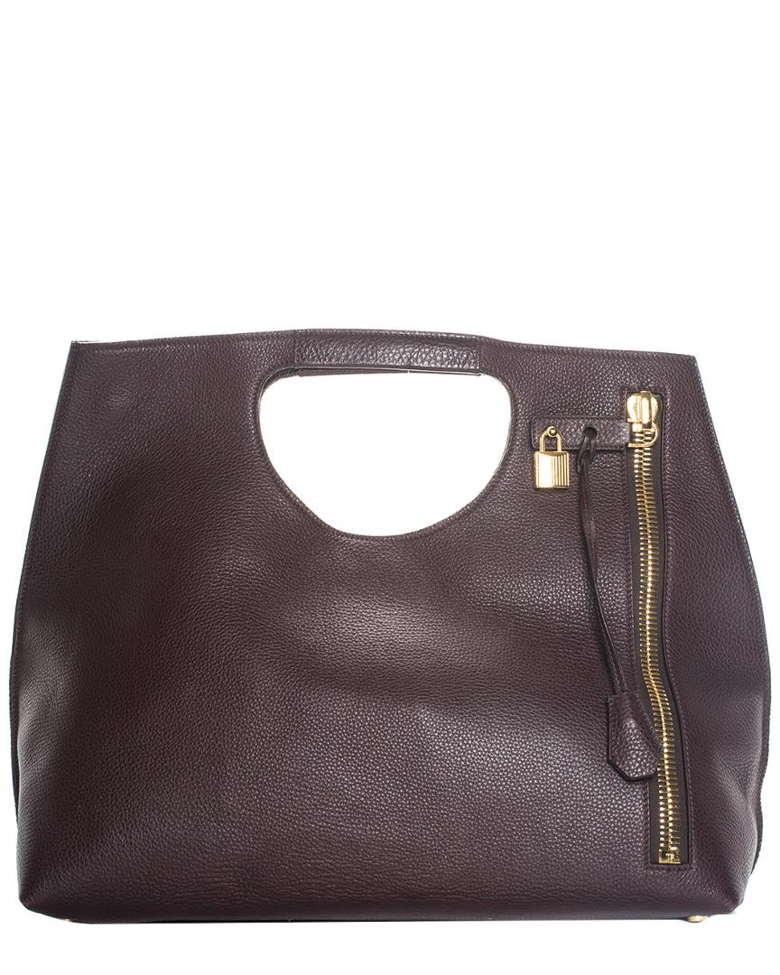 200cb808f6edc Tom Ford Maroon Leather Alix Zip & Padlock Shopper Tote in Brown - Lyst