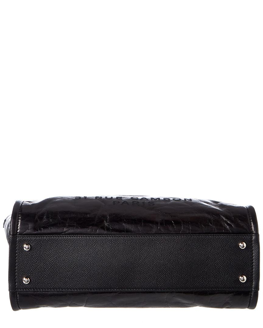 0472b8239f7f Chanel Black Glazed Calfskin Leather Large Deauville Tote in Black ...