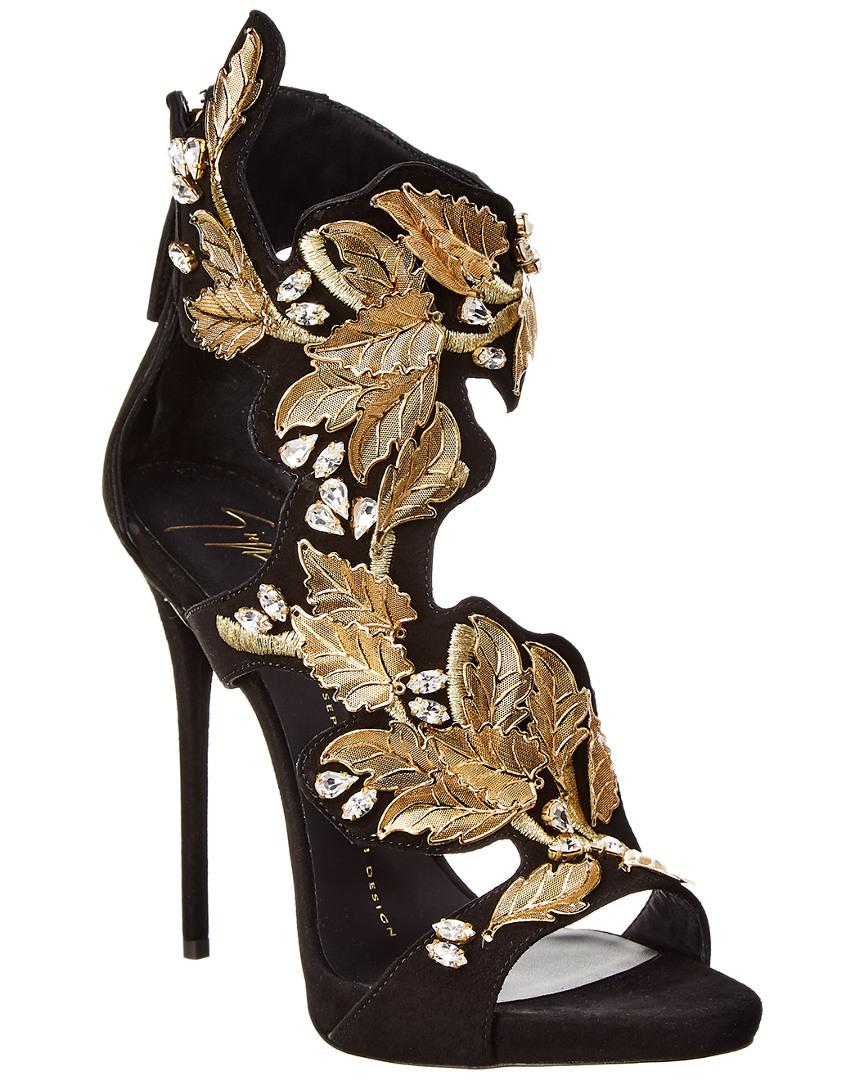 37d97ebc1d69 Lyst - Giuseppe Zanotti Embellished Suede Sandal in Black