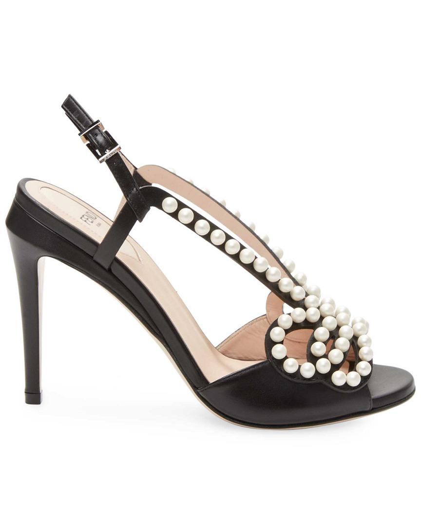 1a1ca269f28 Fendi Faux-pearl Embellished Leather Sandal in Black - Save 25% - Lyst