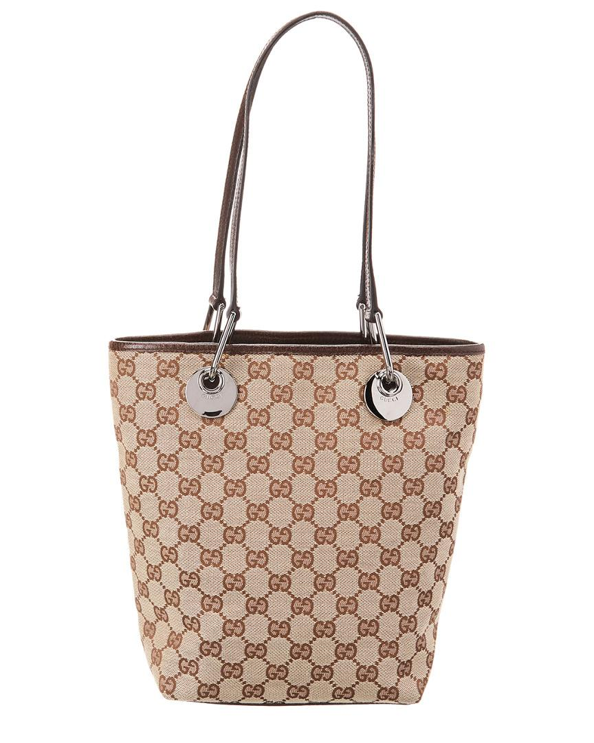 Lyst - Gucci Brown GG Canvas   Leather Tote in Brown 5e14ef1d74d4d