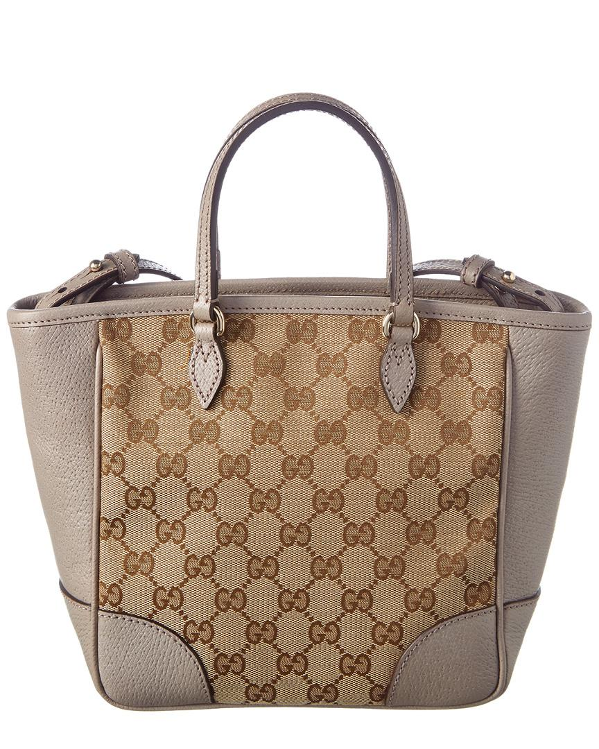 53817e0cadf Lyst - Gucci Bree Gg Supreme Canvas   Leather Tote in Brown