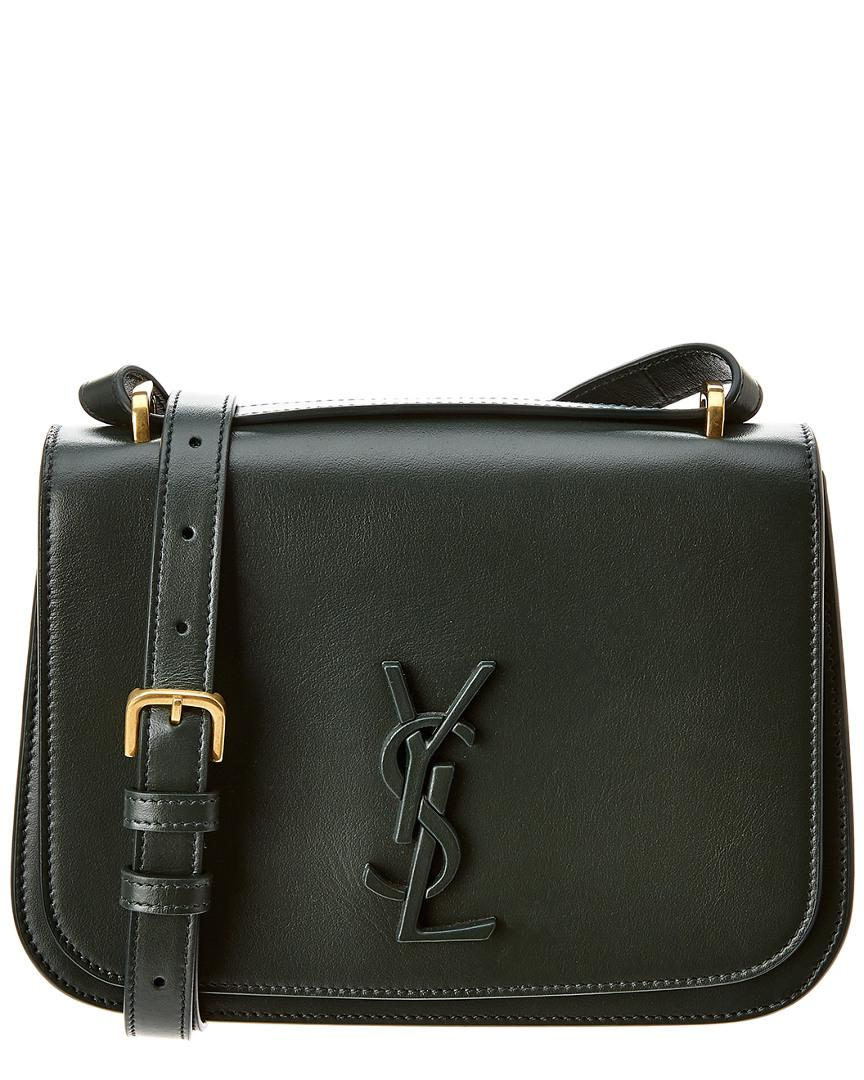 da9236109c604 Saint Laurent Monogram Leather Shoulder Bag in Green - Lyst