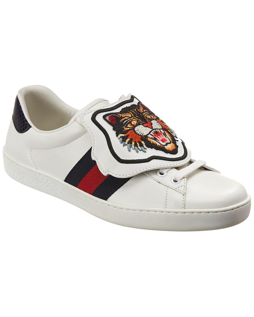 587ca819f3d Lyst - Gucci Ace Removeable Patch Leather Sneaker in White for Men