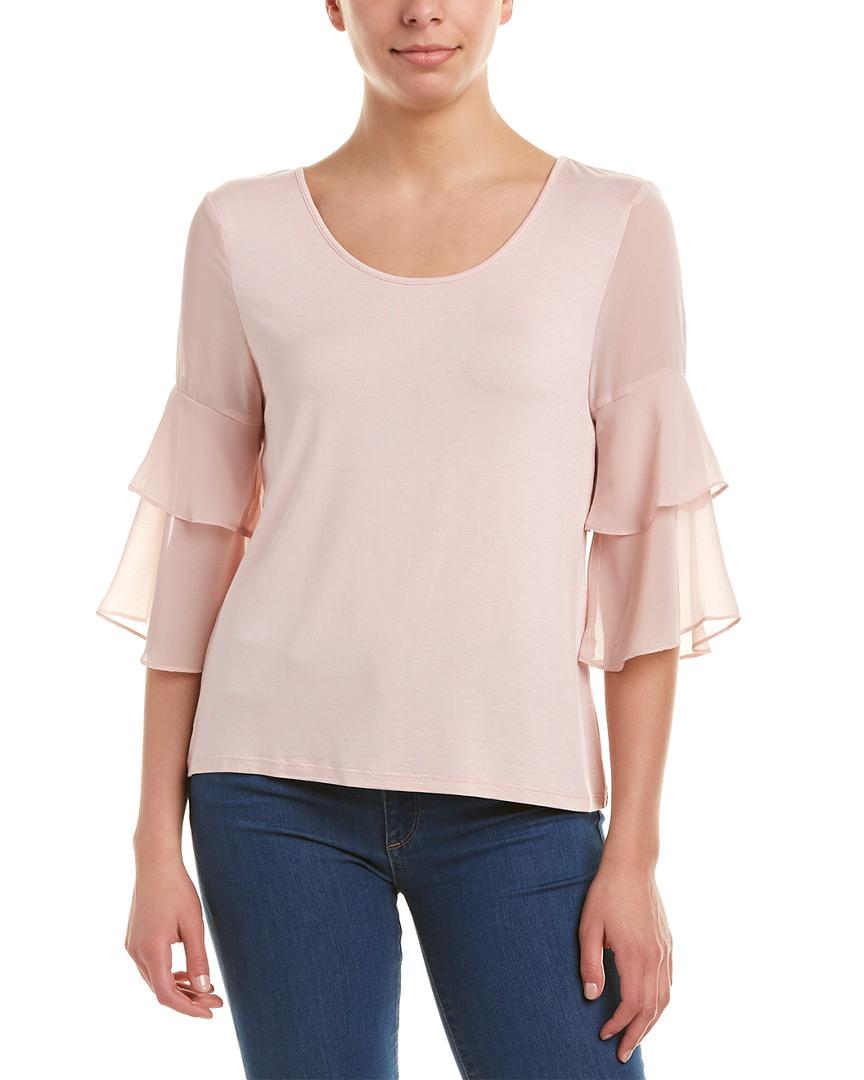 071e6ed515229 Lyst - Bcbgeneration Tiered Sleeve Top in Pink