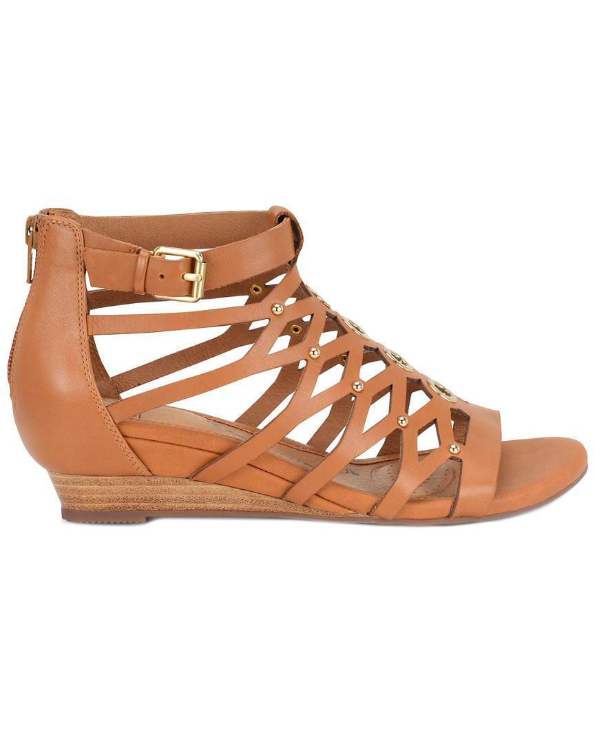 e2e737a3621a Lyst - Söfft Roslyn Leather Wedge Sandal in Brown