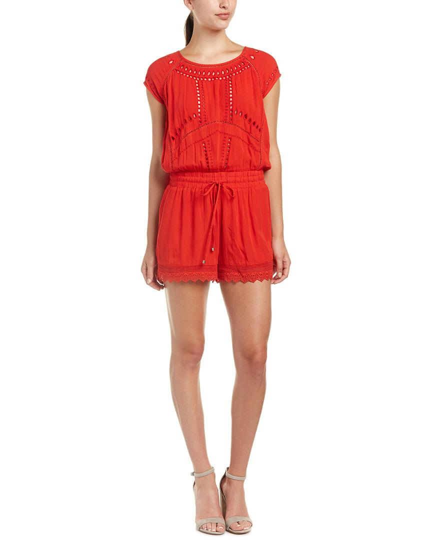c757f92d92a Lyst - Ella Moss Broderie Anglaise Embroidered Romper in Red - Save ...