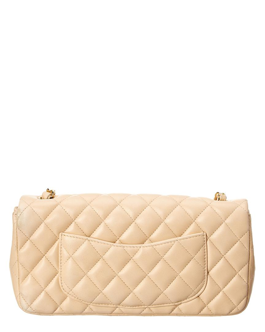 ec090af72439 Chanel Beige Quilted Lambskin East/west Flap Bag in Natural - Lyst