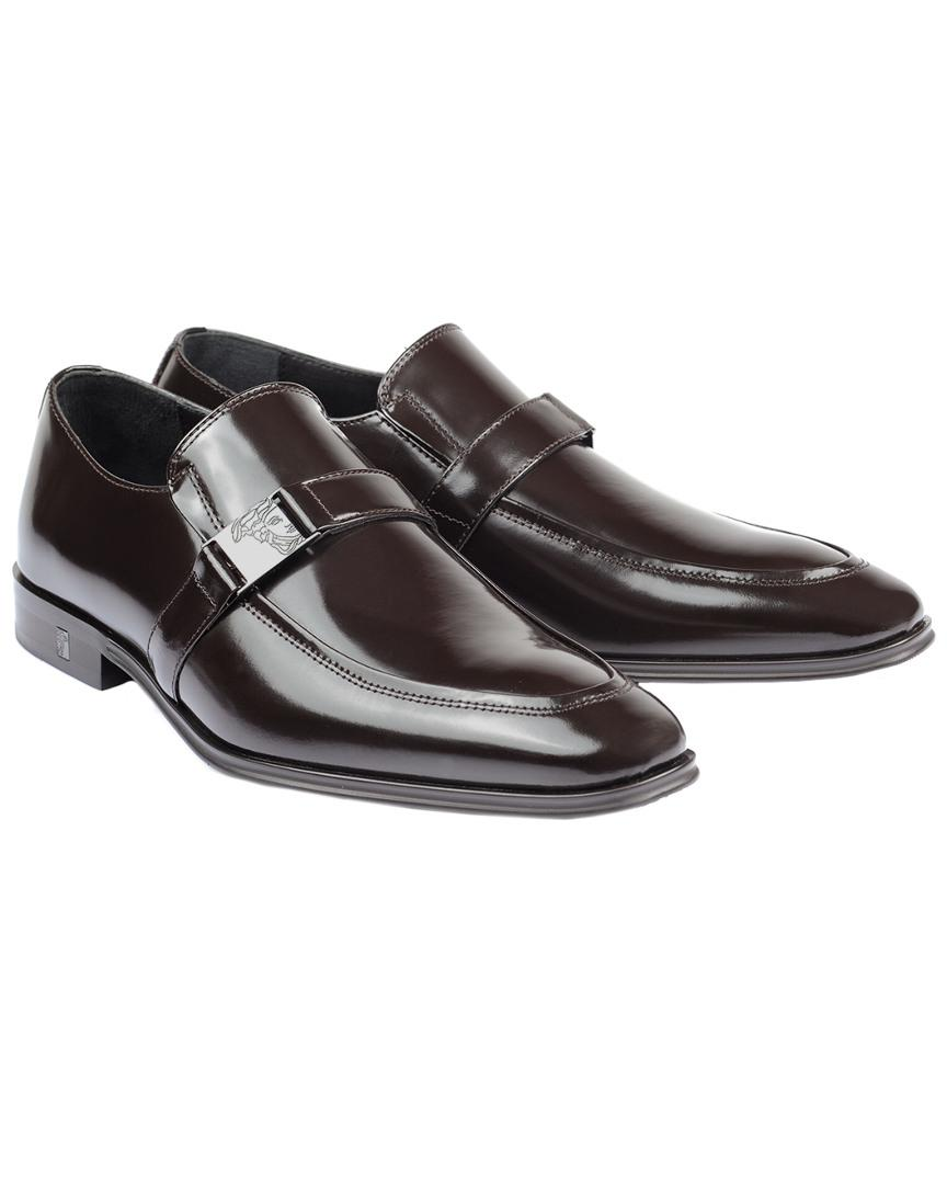 8ea31b19e64 Lyst - Versace Medusa Leather Loafer in Brown for Men - Save ...