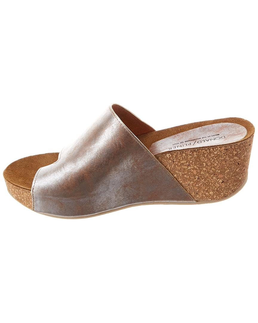144830df48e5 Donald J Pliner Ginie Leather Wedge Sandal in Metallic - Lyst