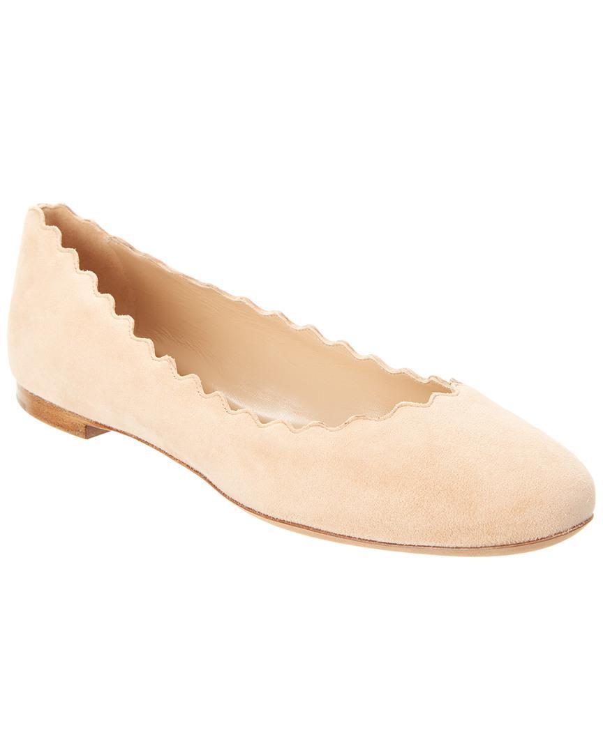 fd71bb7ffd6 Chloé Lauren Scalloped Suede Ballerina Flat in Natural - Save ...