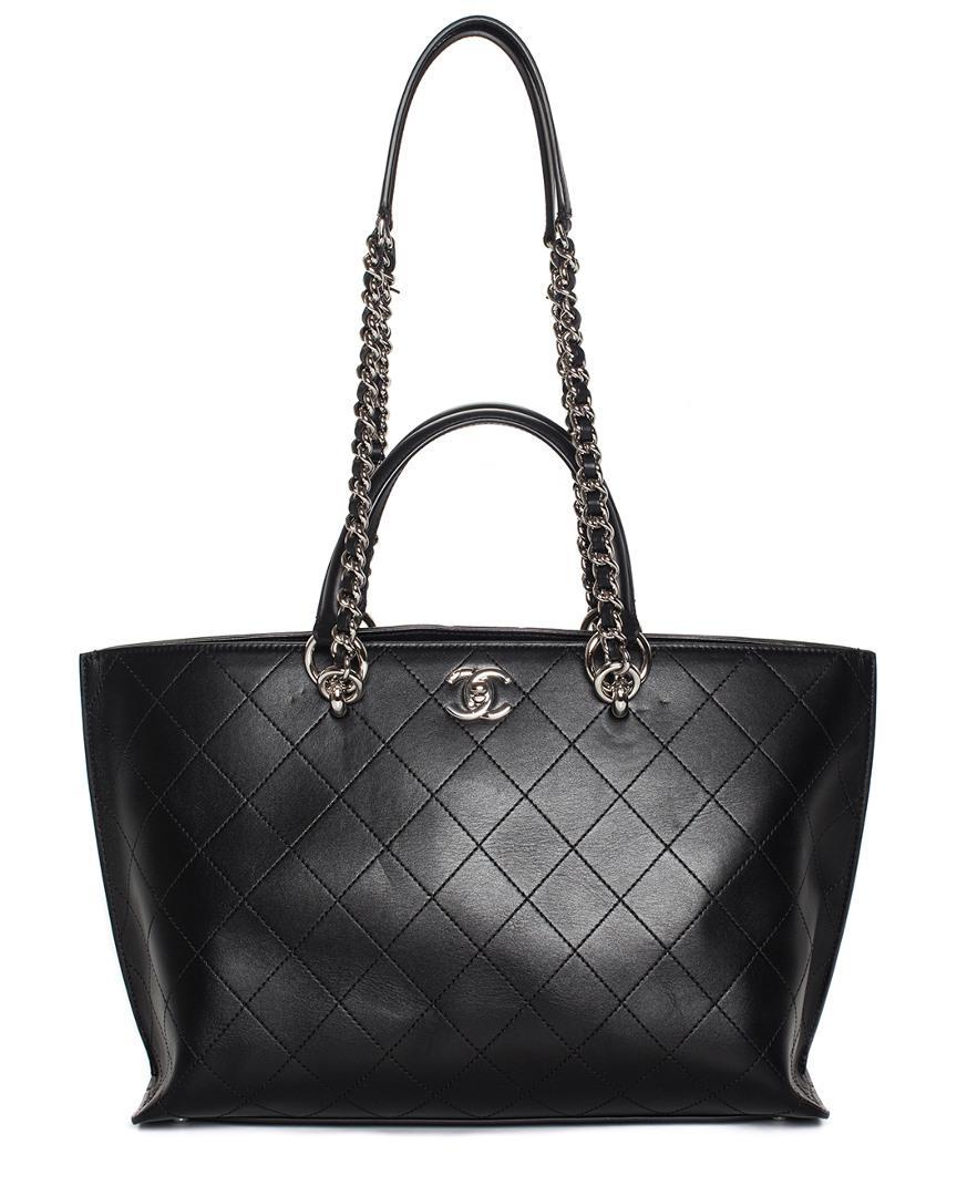 e2dd5e935a2d Lyst - Chanel 2017 Black Quilted Bullskin Leather Trapeze Shopper ...