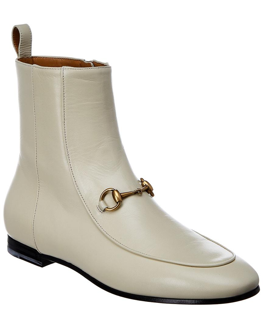 41414728b54 Gucci Jordaan Leather Ankle Boot in White - Lyst