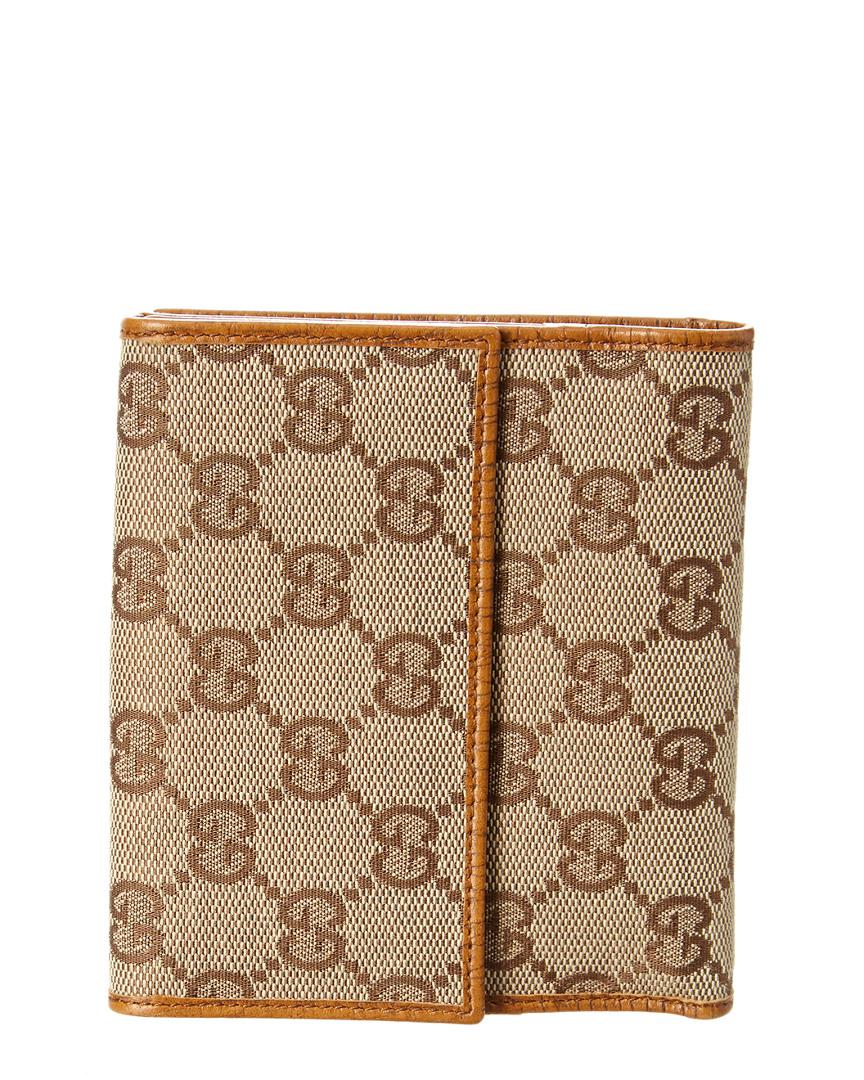 7b4b903d2ac1a3 Lyst - Gucci Brown Gg Supreme Canvas & Leather Bamboo Wallet in Brown