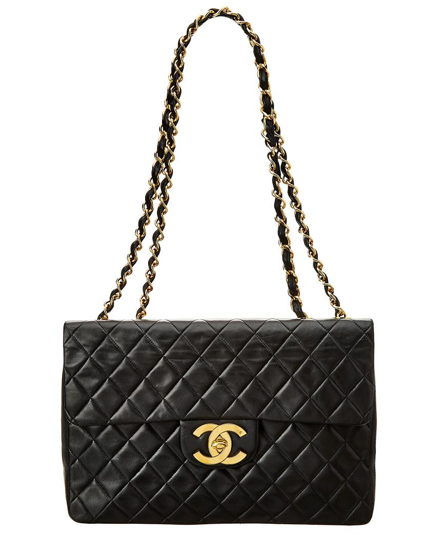 c001255896e7 Chanel Black Quilted Lambskin Leather Maxi Half Flap Bag in Black - Lyst