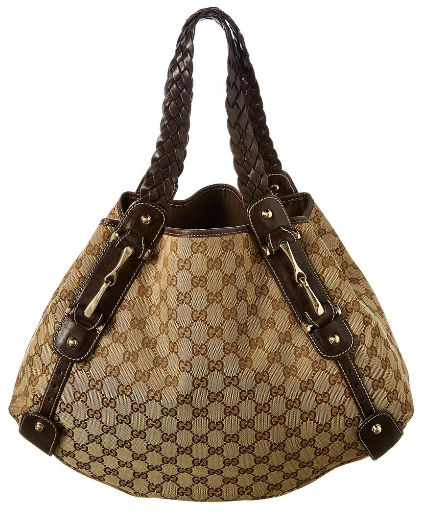 41d3ae45f0f Gucci Brown GG Canvas   Leather Pelham Bag in Brown - Lyst
