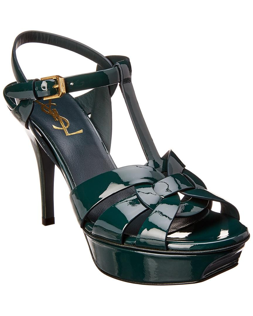 5096bd4a10bc Lyst - Saint Laurent Tribute 75 Patent Sandal in Green - Save 5%