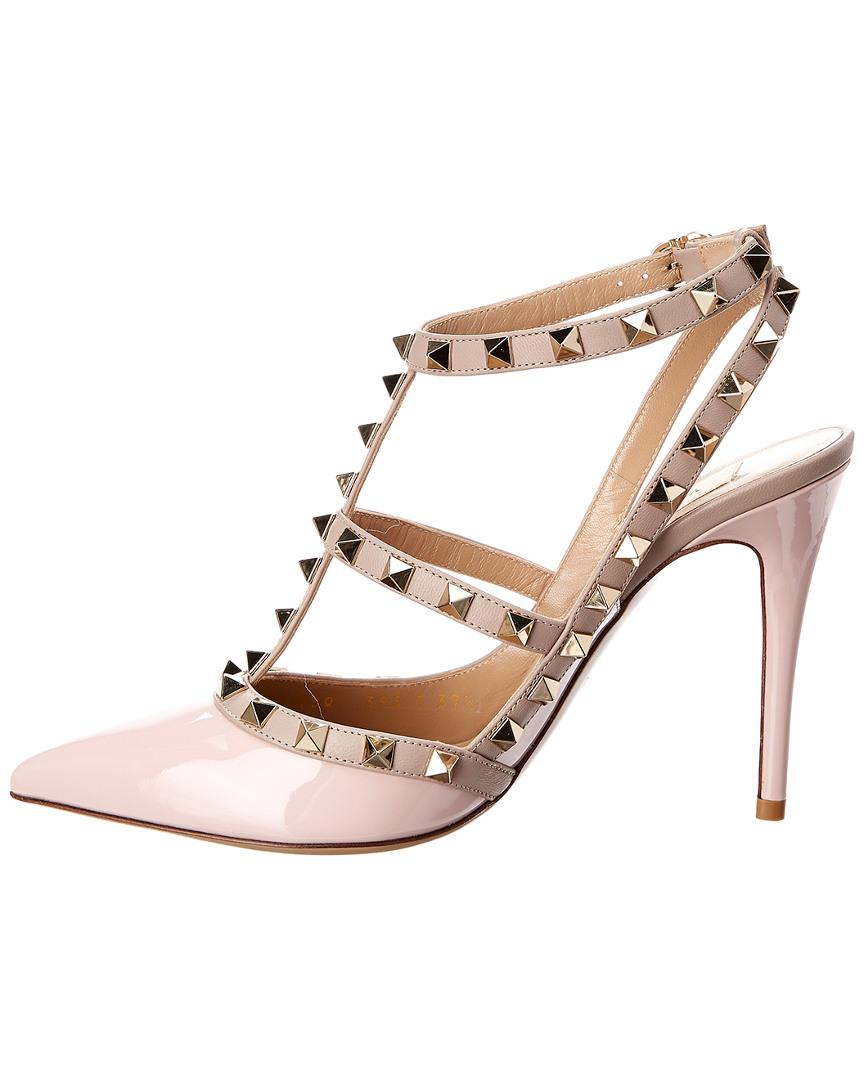 ad513caef4f0 Lyst - Valentino Cage Rockstud 100 Patent Ankle Strap Pump in Pink - Save 6%