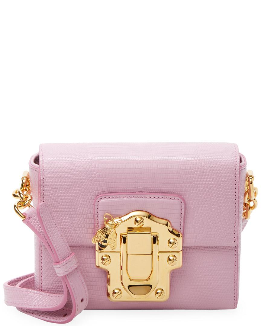 b886cef8e75 Dolce   Gabbana Mini Lucia Embossed Leather Crossbody in Pink - Lyst