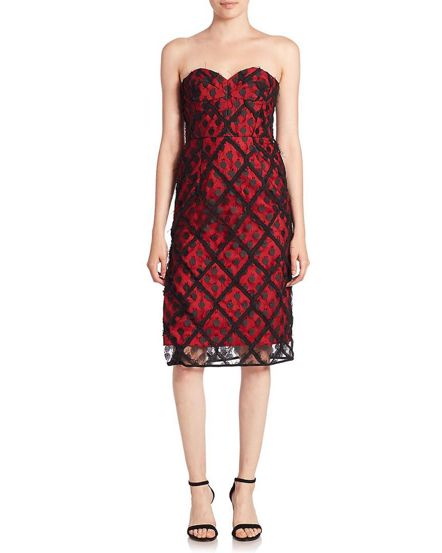 MILLY Alix Embroidered Strapless Sweetheart Dress in Red - Save 54 ... c8981ac79