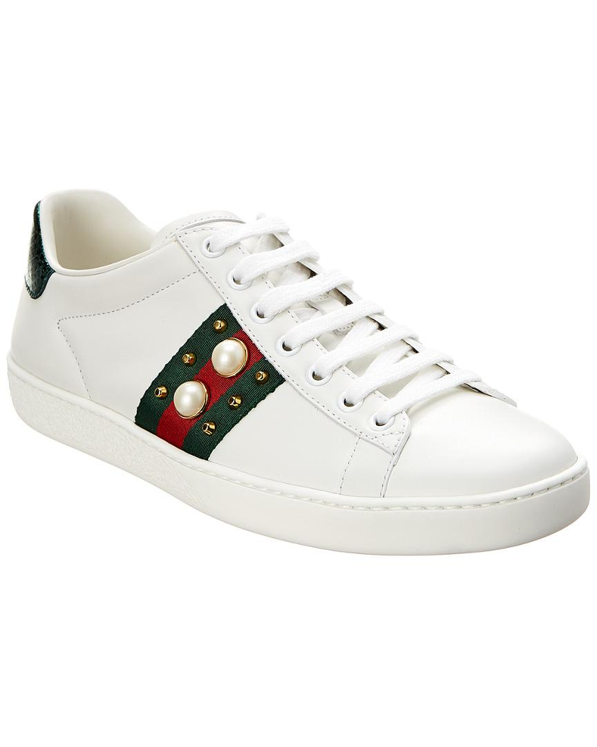 e12e3e60568 Lyst - Gucci Ace Studded Leather Sneaker in White