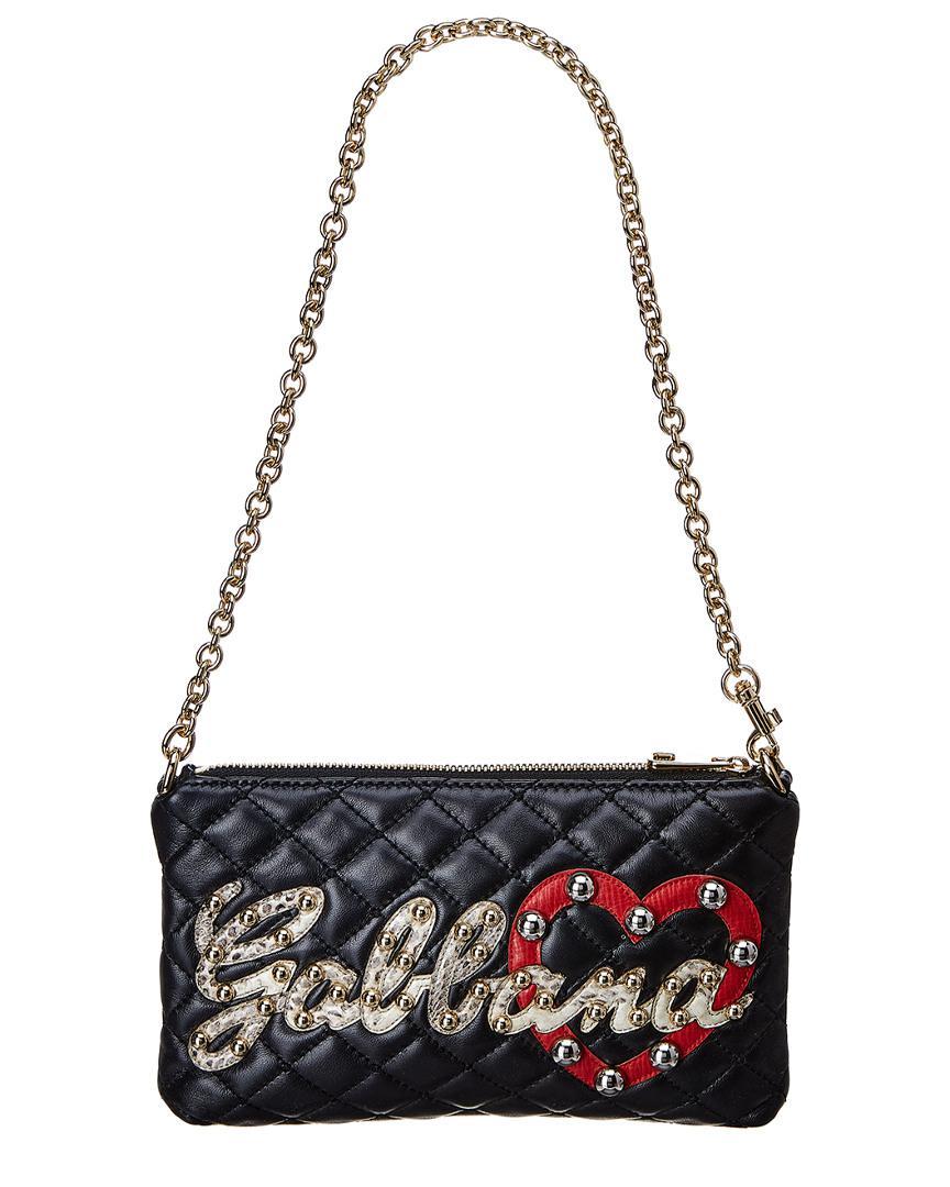 2c8b3a481bd2 Lyst - Dolce   Gabbana Mini Embellished Leather Shoulder Bag in Black