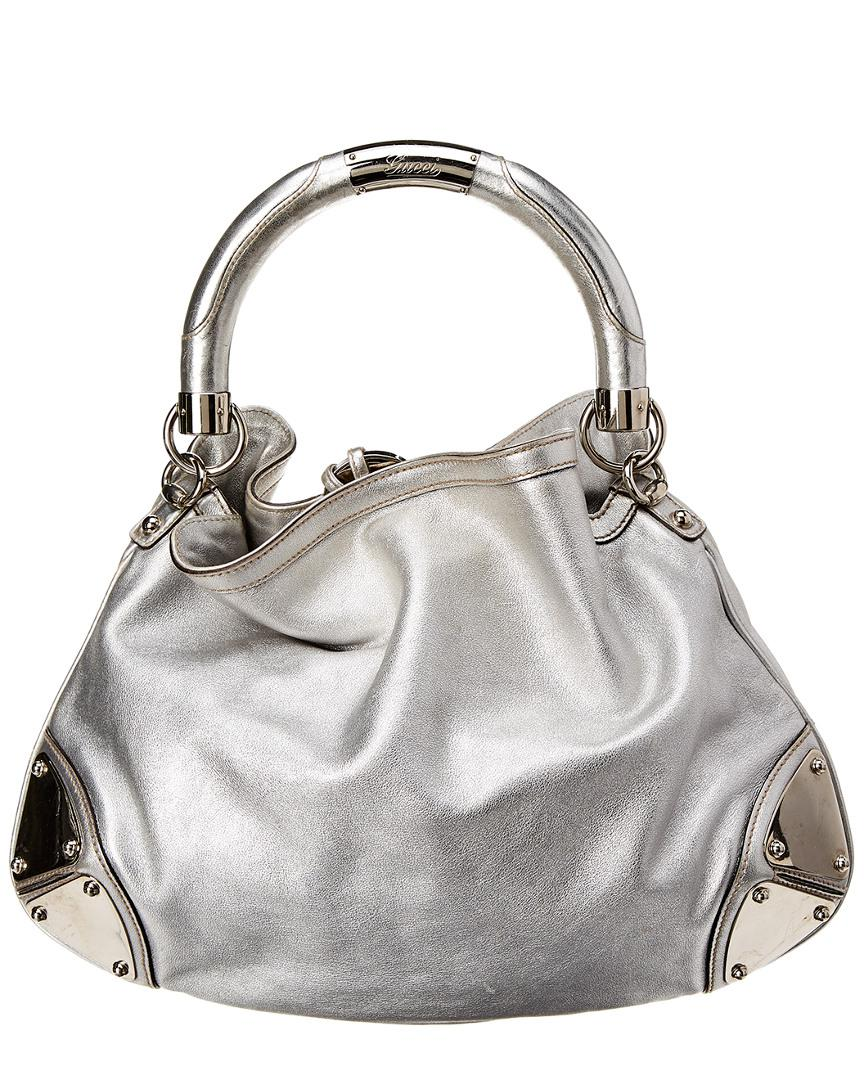 Gucci Silver Leather Indy Hobo Bag in Metallic - Lyst 215b82c8ee43d