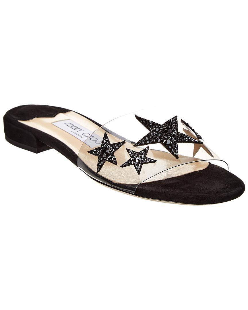 441e66d6525a Lyst - Jimmy Choo Joni Piexi Star Embellished Slide in Black - Save 21%