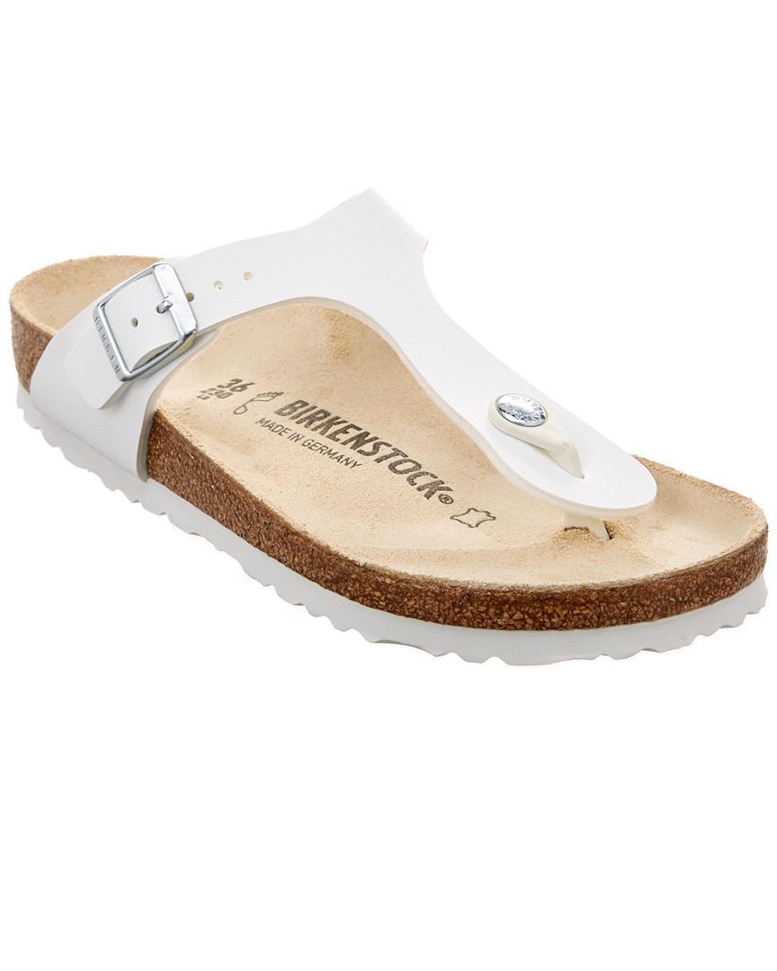 f8ef4eebdafdbf Lyst - Birkenstock Gizeh Birko-flor Leather Sandal in White