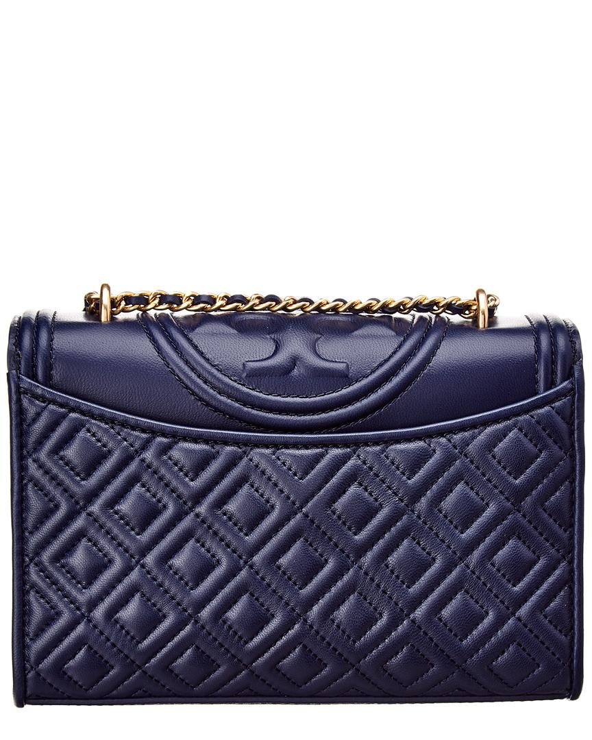 68dfa26f211 Tory Burch Fleming Small Convertible Leather Shoulder Bag in Blue - Save  12.587412587412587% - Lyst
