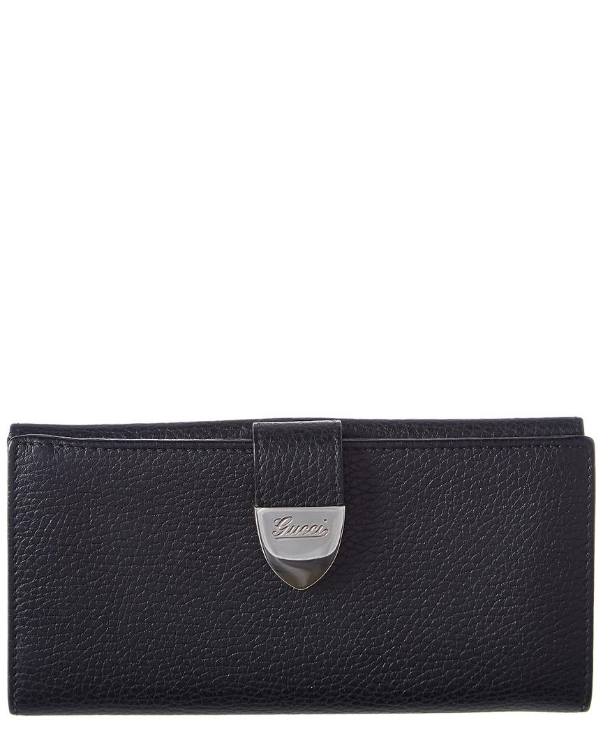 11c5d898a66 Lyst - Gucci Black Leather Buckle Wallet in Black