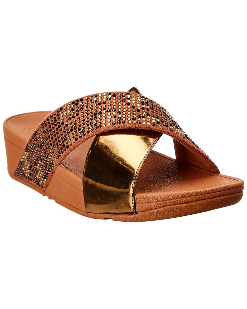 18ae9d95b93f Fitflop Lulu Leopard Crystal Sandal in Brown - Lyst