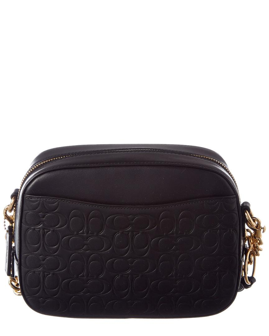 Lyst - COACH Signature Leather Camera Bag in Black 96a2011bac297