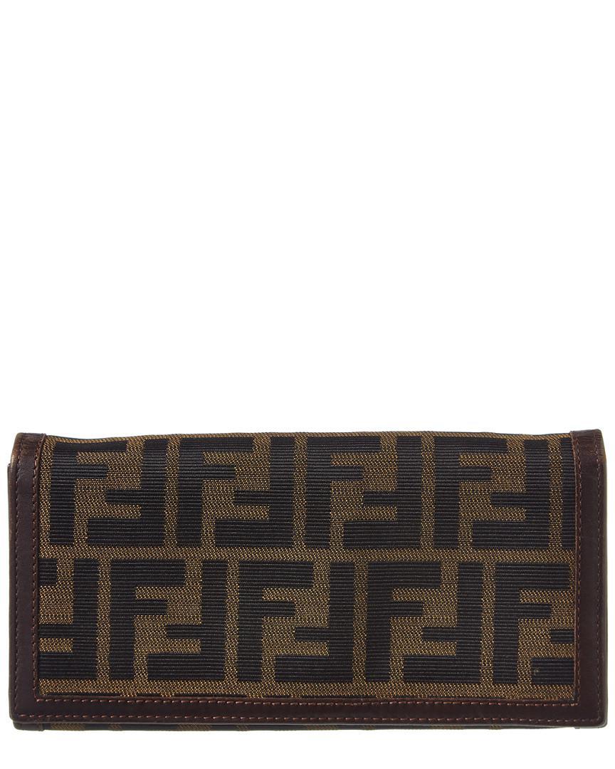5368705ac343 Lyst - Fendi Brown Zucca Canvas Long Wallet in Brown