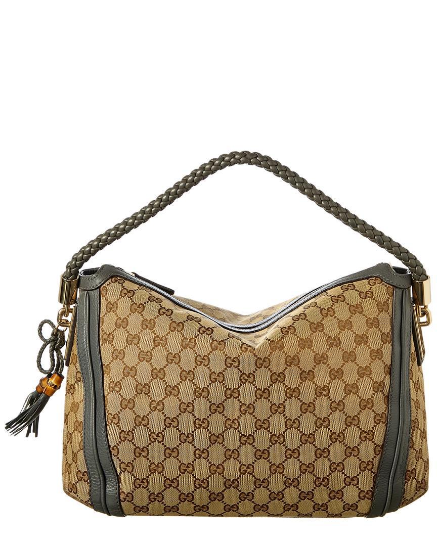 Gucci Grey GG Canvas   Brown Leather Bella Hobo Bag in Brown - Lyst 73ac9f105bdbc