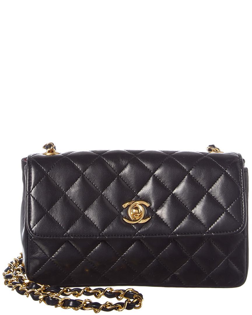 0b62bd4d899c Lyst - Chanel Black Lambskin Leather Mini Shoulder Bag in Black