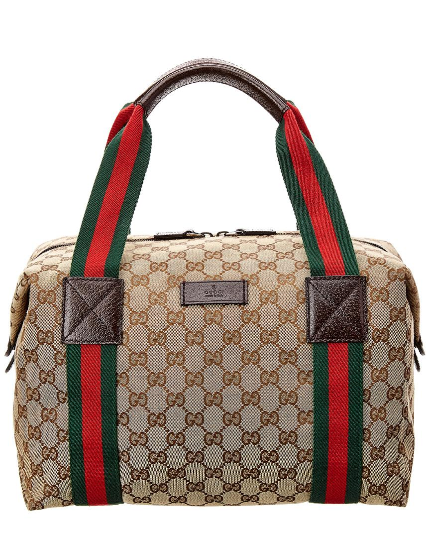 f1447be6c Gucci Brown GG Canvas & Leather Web Duffle Bag in Brown - Lyst