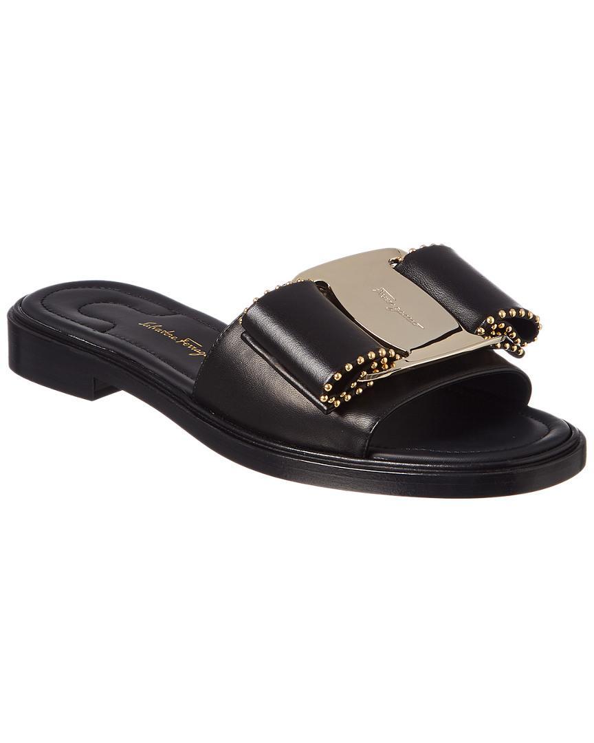 f38d89bff461 Lyst - Ferragamo Isera Studded Leather Slide Sandal in Black - Save 43%