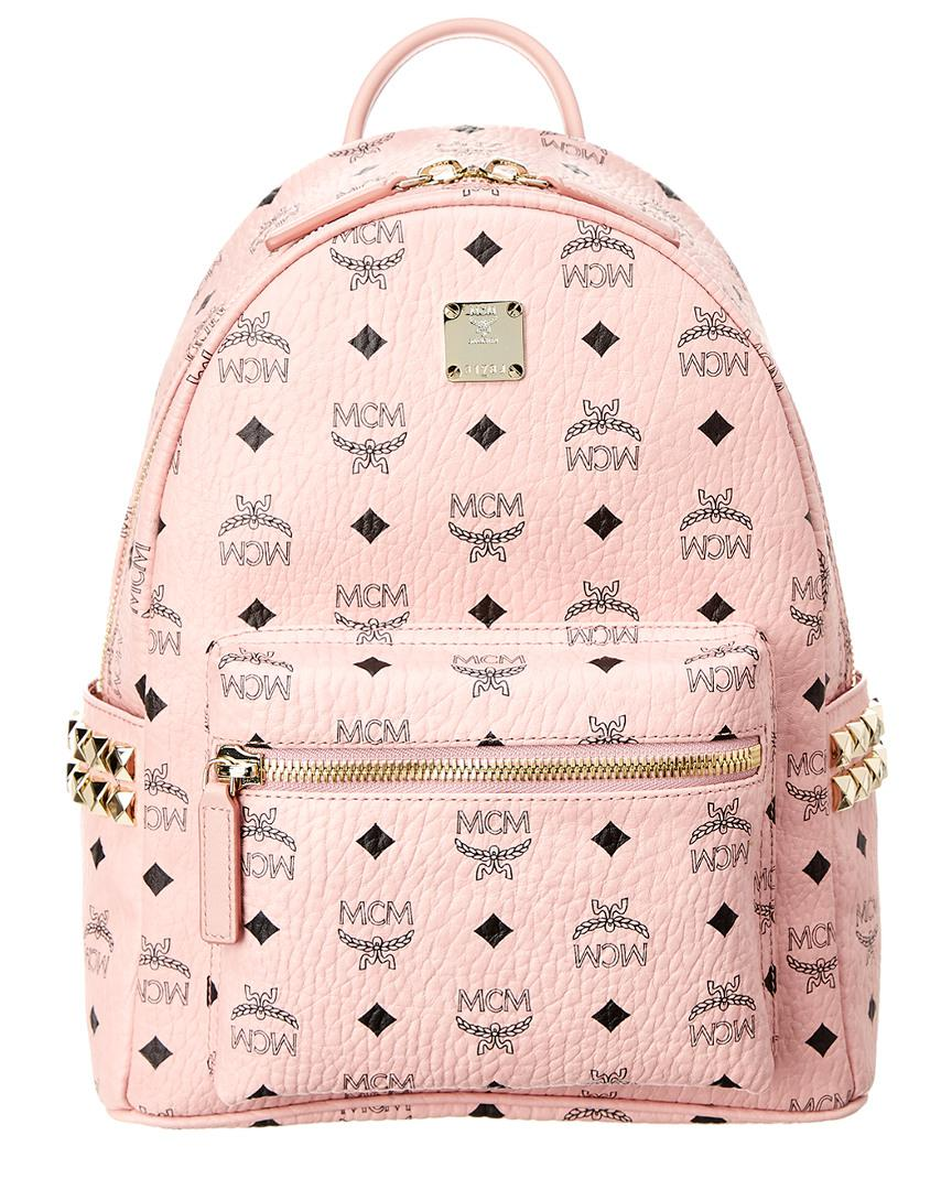 f7e760b97501 Lyst - MCM Stark Small Studded Visetos Backpack in Pink