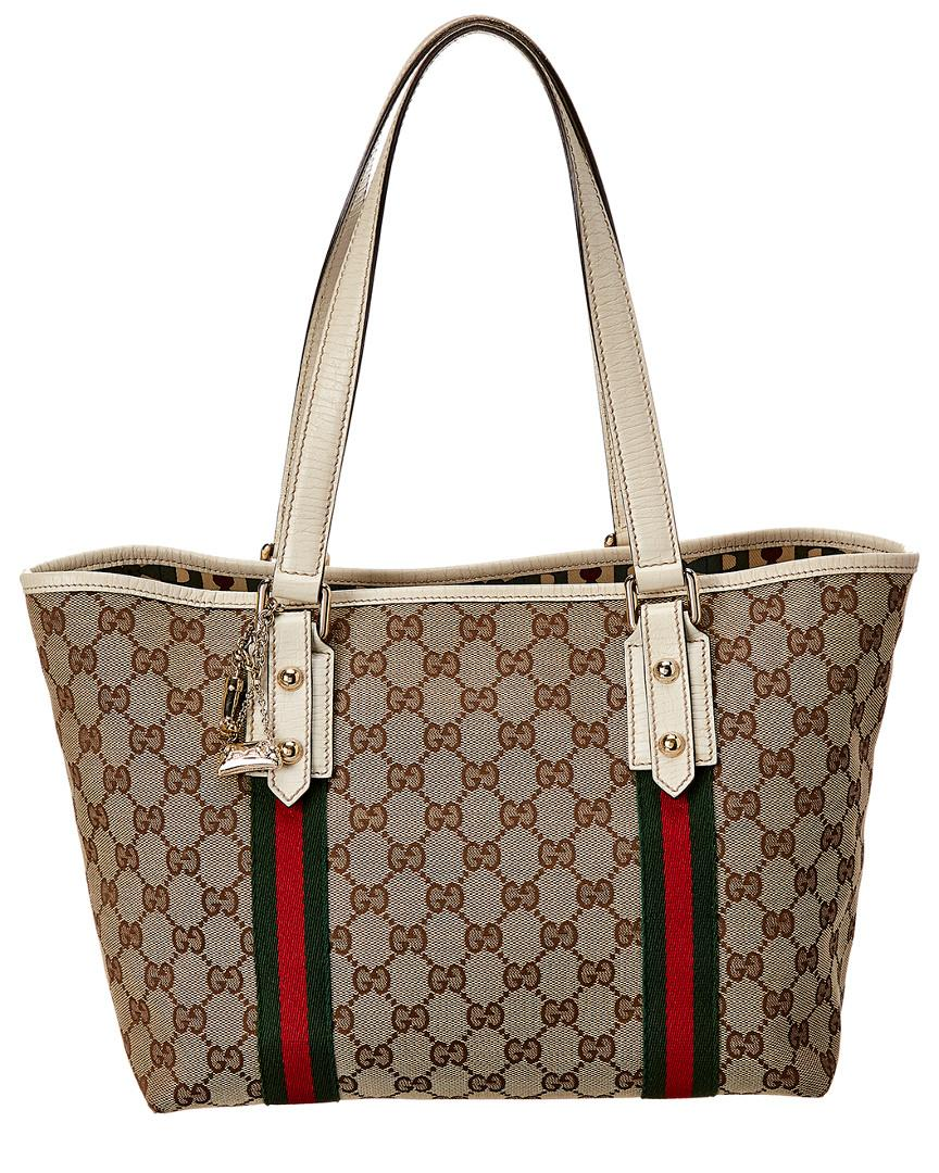 a894b1ba414 Lyst - Gucci Brown GG Canvas   White Leather Jolicoeur Tote in Brown