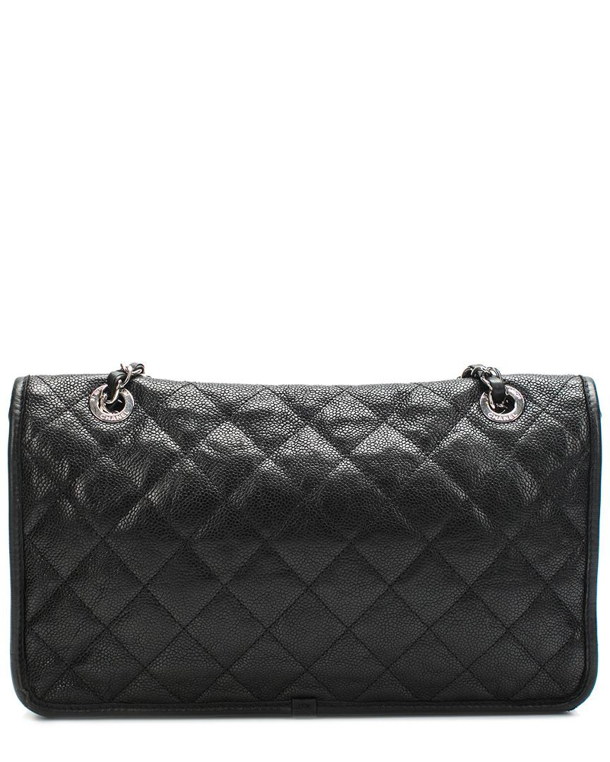 fc61a46b86277c Lyst - Chanel Black Quilted Caviar Leather French Riviera Medium ...