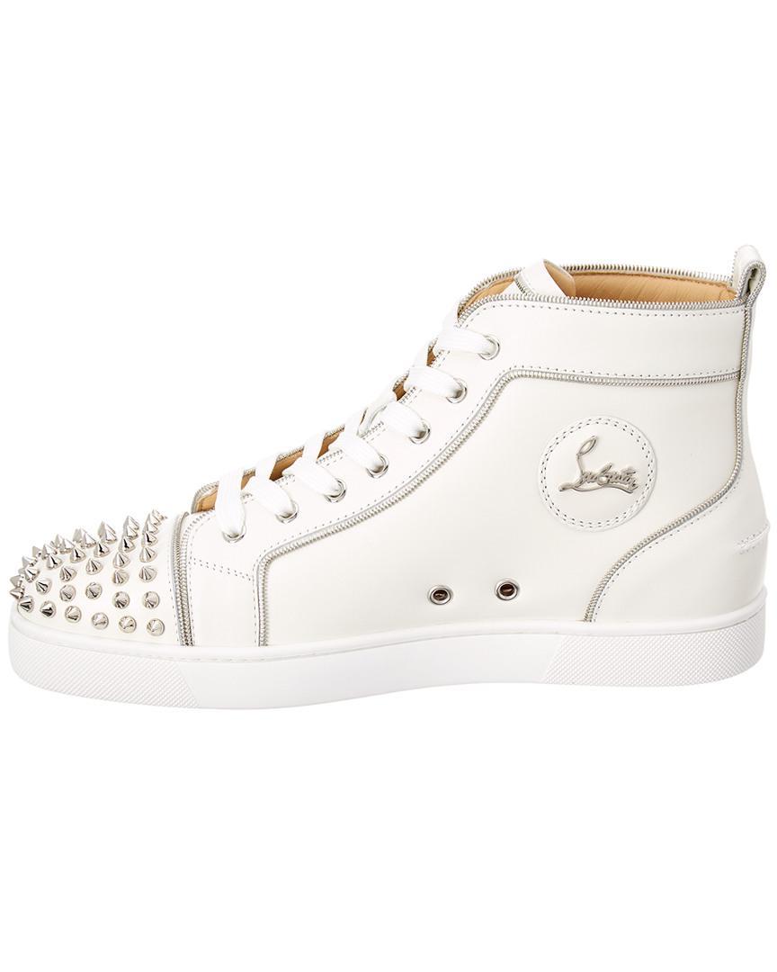 5f872b33c7da ... ebay lyst christian louboutin lou z spiked leather sneaker in white for  men 2ed5f 0b32a