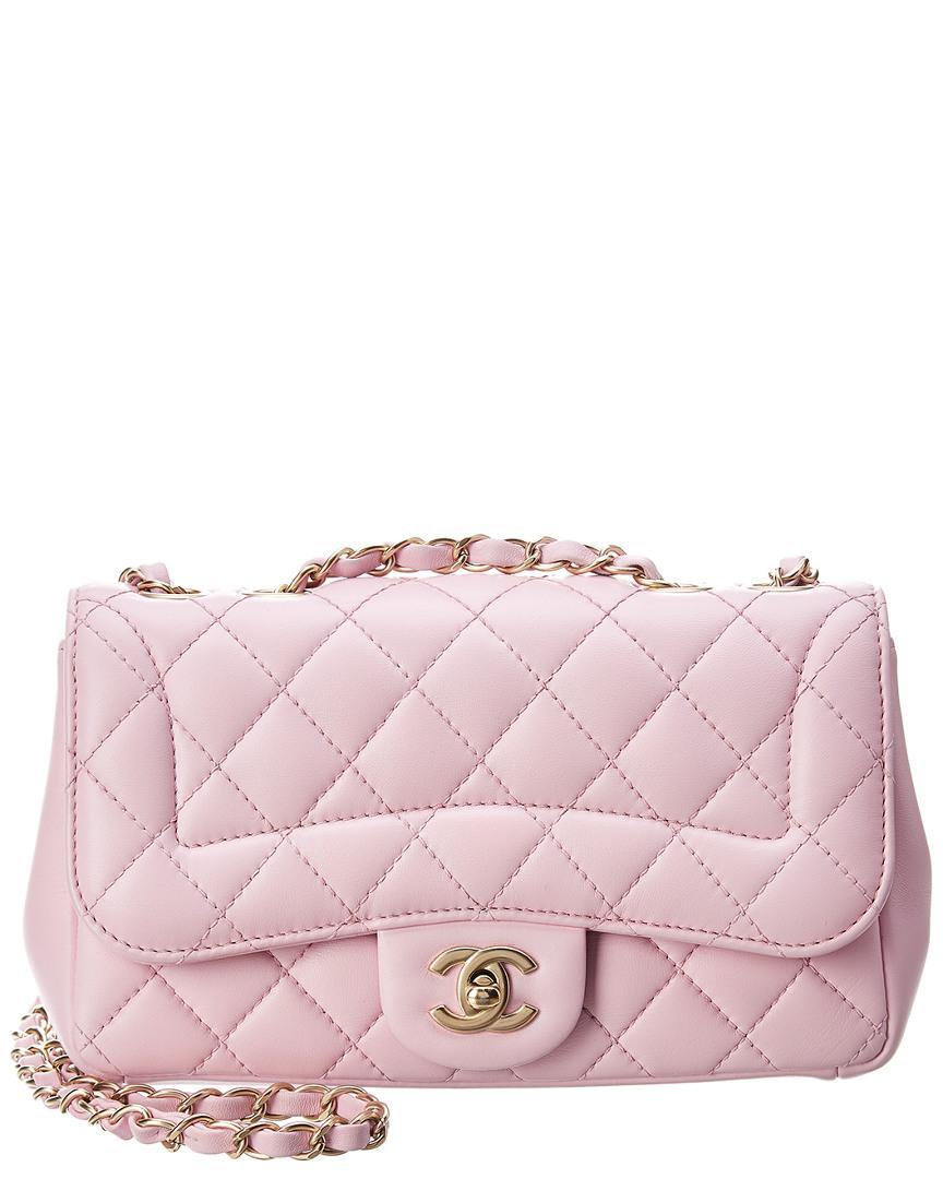 dc4e2e407676 Lyst Chanel Pink Quilted Lambskin Leather Mademoie Chic Small