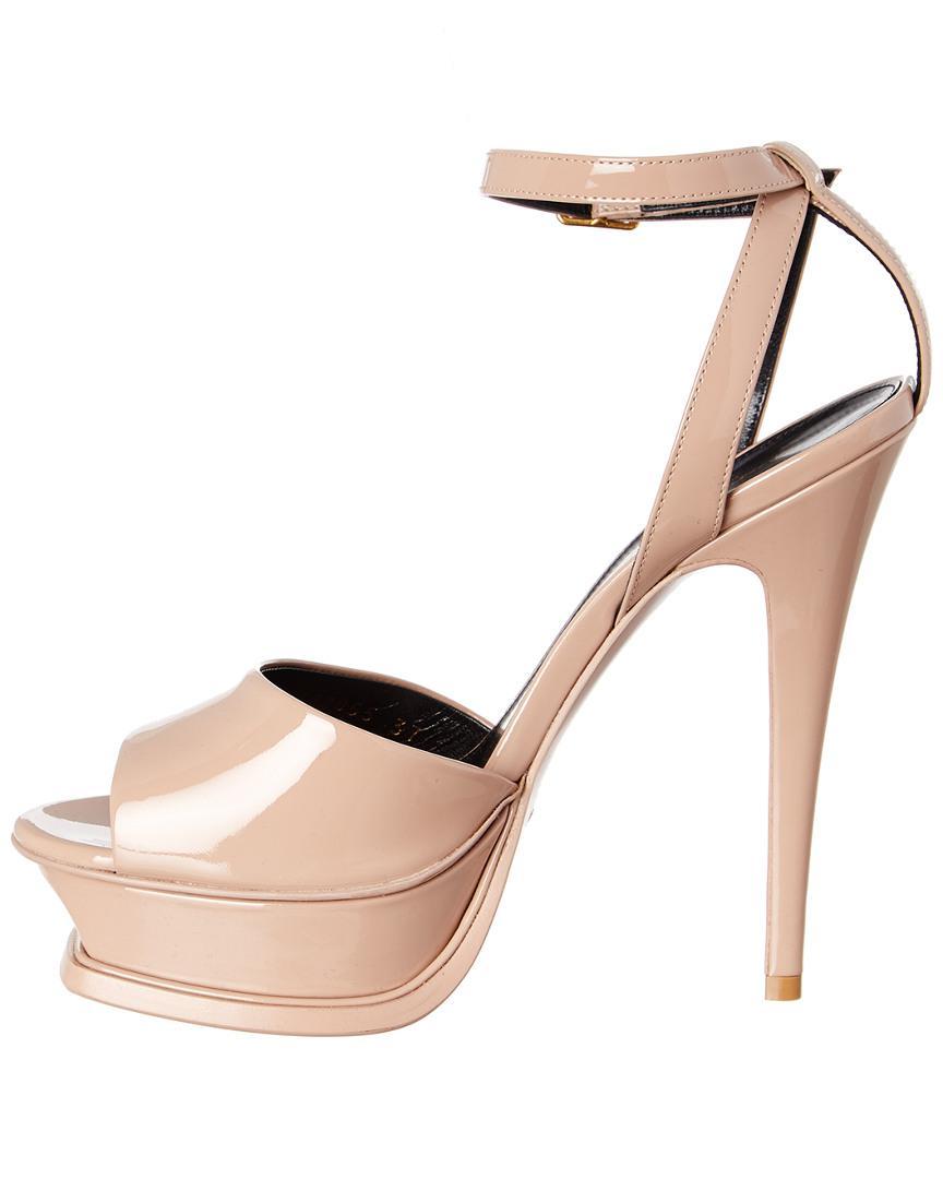 0ce3e3981e17 Lyst - Saint Laurent Tribute 105 Peep-toe Patent Sandal in Natural
