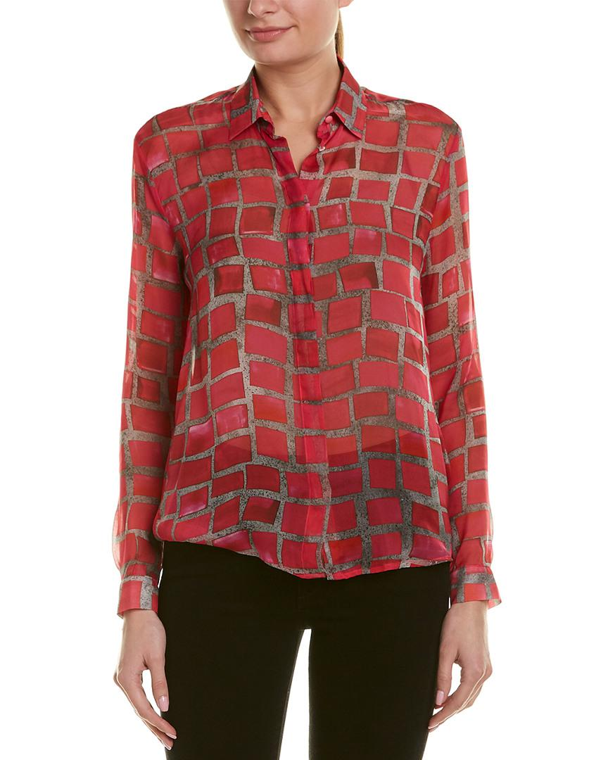 0056c8b4901 Lyst - Msgm Silk Check Print Shirt in Red for Men