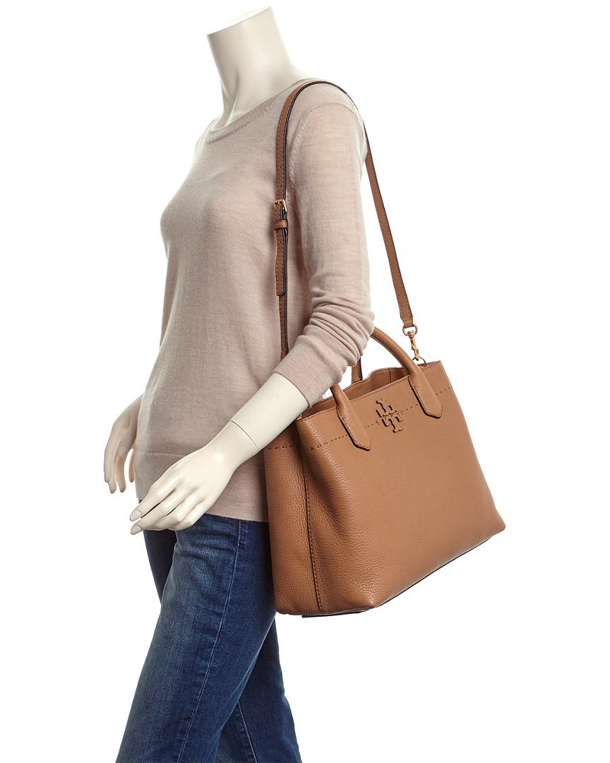 3c98386d3a2923 Lyst - Tory Burch Mcgraw Leather Triple Compartment Satchel in Brown